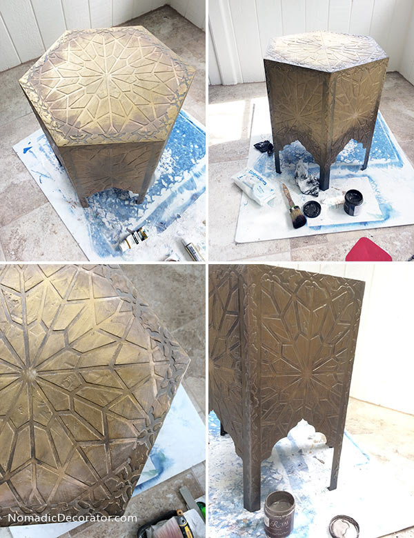 Brass Moroccan Table Look with Paint