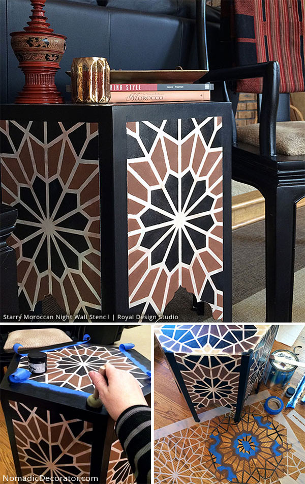Moroccan Table Painted with Stencils