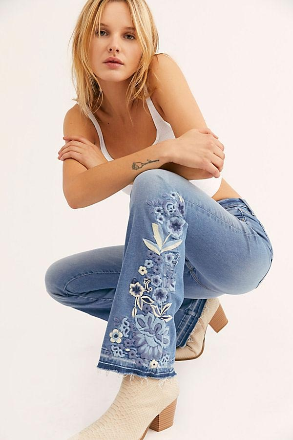 Blue Embroidered Jeans Free People