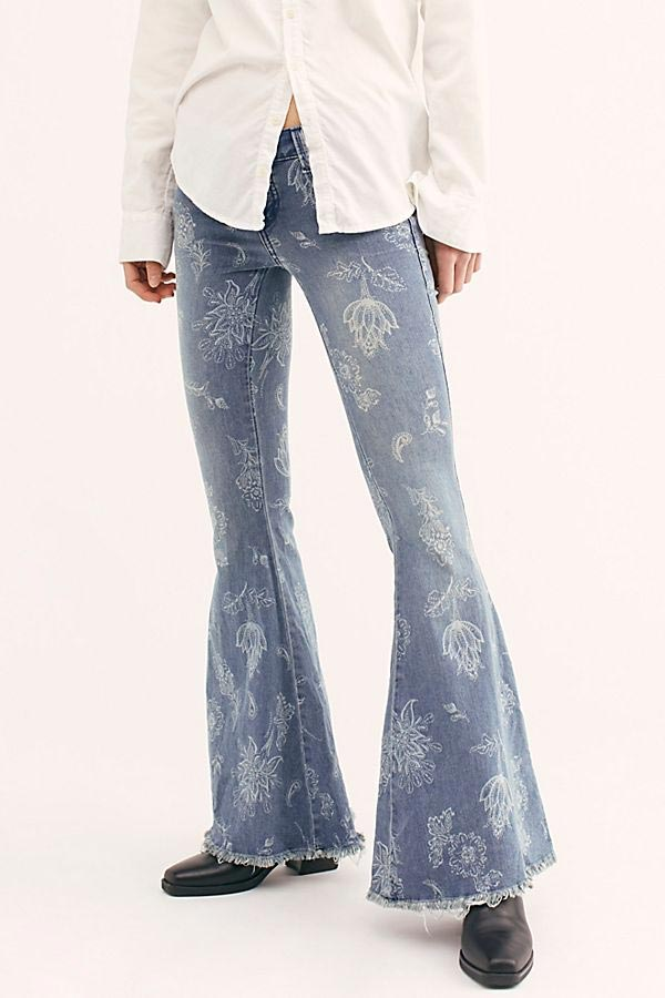 Free People Faded Denim Jeans with White Flowers